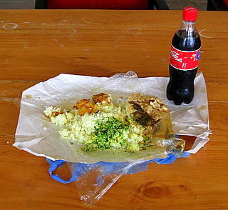 Vegetable packet and a Coca-Cola
